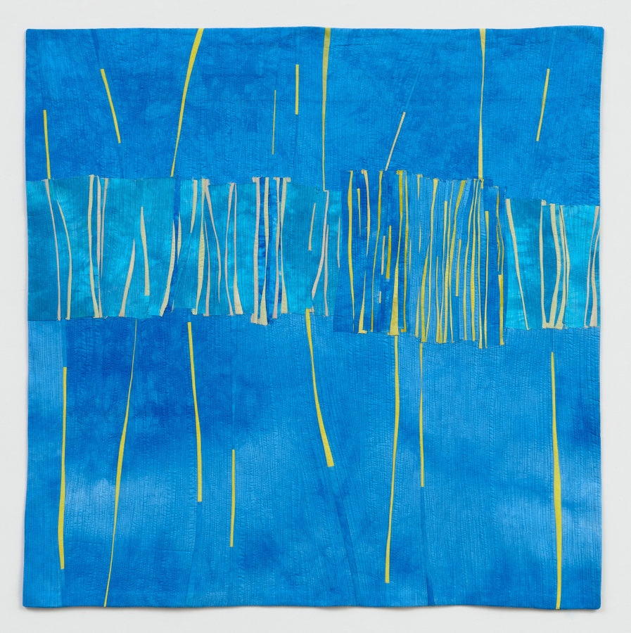 contemporary wall art made from hand dyed fabric