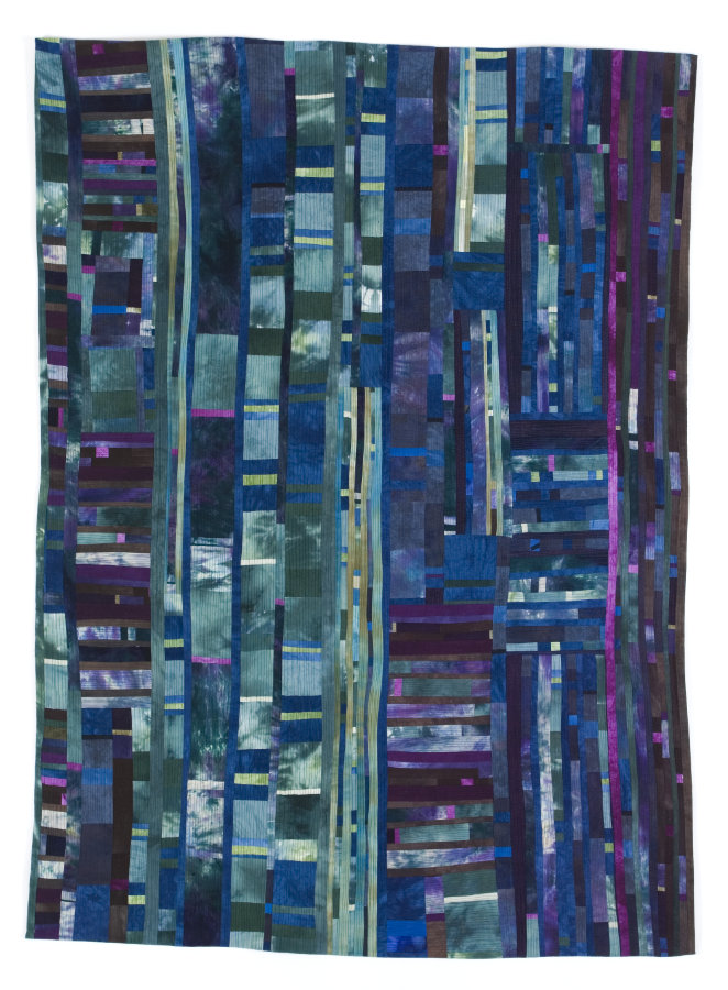 abstract pieced fiber art by Beth Carney