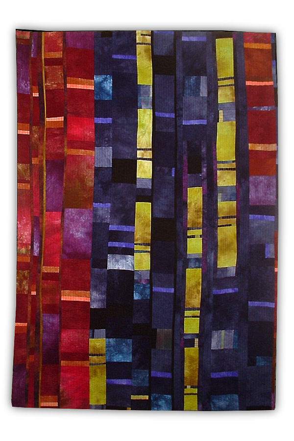 modern quilt with hand-dyed bold fabric by Beth Carney